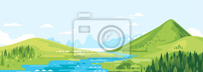 Bild Green mountains in sunny day with river in valley and spruce forest in simple geometric form, nature tourism landscape background, travel mountains adventure illustration