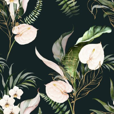 Bild Green tropical leaves and blush flowers on dark background. Watercolor hand painted seamless pattern. Floral tropic illustration. Jungle foliage.