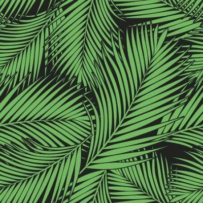 Bild Green tropical palm leaves texture on dark backdrop. Seamless vector background. Botanical illustration
