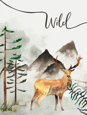 Bild Greeting card with background of forest and mountains. Children's theme. Postcard with Deer. Wildlife