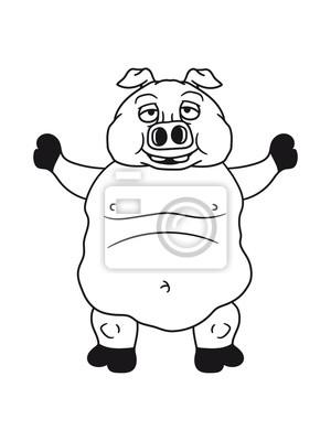 Groß Dick Fett Schwein Eber Ferkel Komisch Cartoon Lachen Clipart