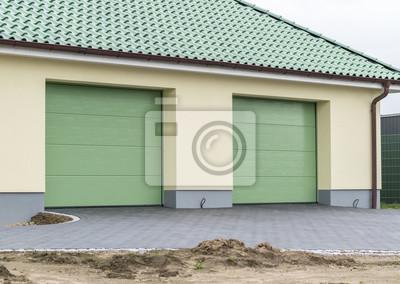 Bekannt Große doppelgarage mit grünen toren leinwandbilder • bilder BP14