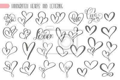 Bild Große gesetzte Valentinsgrußtageshand geschrieben, Herzliebe beschriftend, Plakat, Grußkarte, Fotoalbum, Fahne, Weinlesekalligraphievektor-Illustrationssammlung zu entwerfen