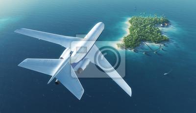 Große Passagierflugzeug fliegt über tropische Insel Paradies