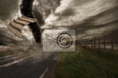 Große Tornado über der Straße