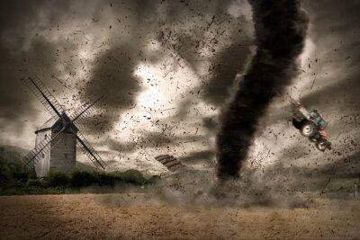 Große Tornado über einer Windmühle