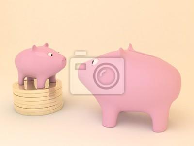 Bild Große und kleine Sparschweine. Kleine Sparschwein bleiben am Stapel der goldenen Münzen.