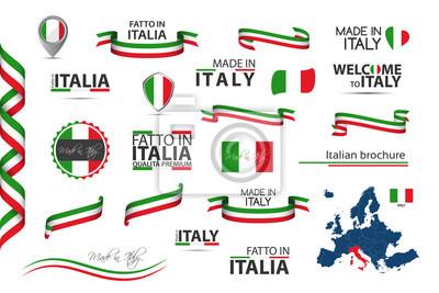 Bild Großer Satz italienischer Bänder, Symbole, Ikonen und Fahnen lokalisiert auf weißem Hintergrund, Made in Italy, Willkommen in Italien, Premium-Qualität, italienische Trikolore, Set für Ihre Infografik