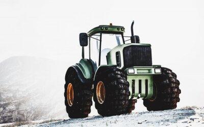 Bild Großer schwerer grüner Traktor auf einem Berg