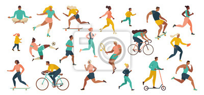 Bild Group of people performing sports activities at park doing yoga and gymnastics exercises, jogging, riding bicycles, playing ball game and tennis.