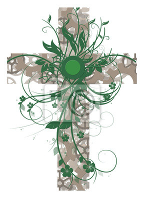grün floral Kreuz