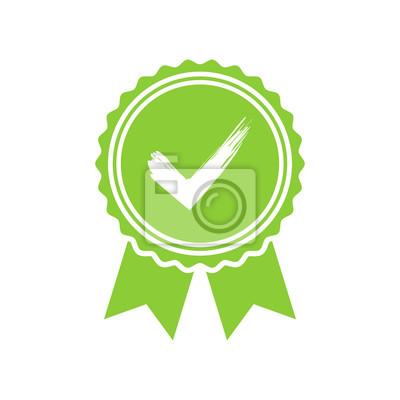 Grün genehmigt oder zertifiziert medaille symbol in einem flachen ...