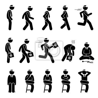 Grundlegende arzt bewegungen und aktionen. strichmännchen-piktogramm ...