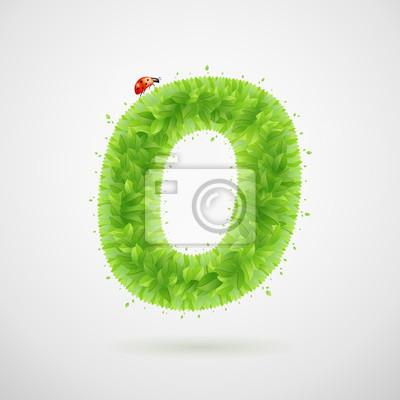 Grüne Blätter Alphabet mit Marienkäfer. Ökologie Sommer. Buchstabe O