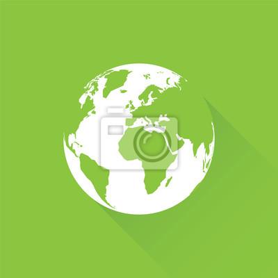 Grüne erde mit langem schatten leinwandbilder • bilder weltweit ...