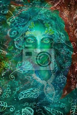 Grüne Fantasy-Fee Geist mit Blatt Ornamente, Illustration Collage