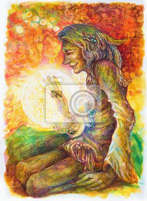 Grüne Hippie Indianer Schamanen mit einem Ball aus Heil weißes Licht.