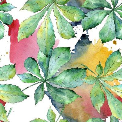 Bild Grüne Kastanienblätter in einer Aquarellart. Nahtlose Hintergrundmuster. Aquarellblatt für Hintergrund, Beschaffenheit, Verpackungsmuster, Rahmen oder Grenze.