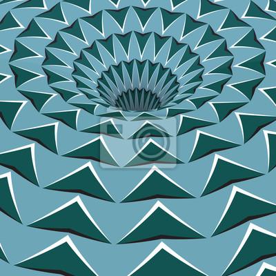 Grüne Pfeile Loch. Optische Bewegung Illusion Illustration.