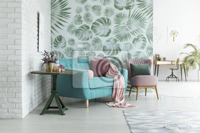 Bild: Grüne tapete im wohnzimmer