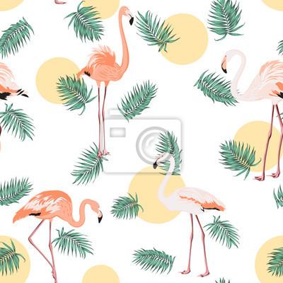 Grune Tropische Dschungel Palmen Blatter Exotische Flamingo