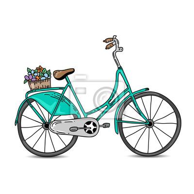 gr ne vintage fahrrad mit korb hand gezeichnet fahrrad. Black Bedroom Furniture Sets. Home Design Ideas
