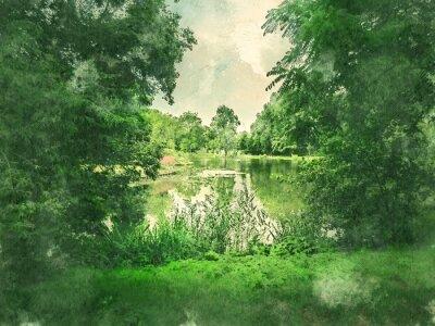 Bild Grüner Park und See in Amsterdam. Aquarell. Ölmalerei Stil.