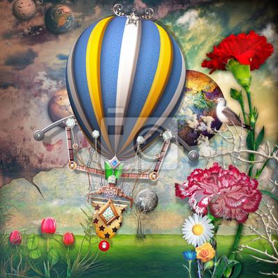 Grünes Feld mit Tulpen Blumen und montgolfier
