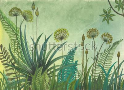 Bild Grünes Gras, das im Dschungel wächst. Abbildung mit Wasserfarben gemalt