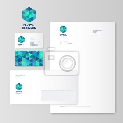 Grünes Und Blaues Kristallhexagon Logo Identität Blank