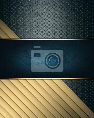 Bild Grunge blauen Hintergrund mit goldenen Bändern und blauen Namensschild