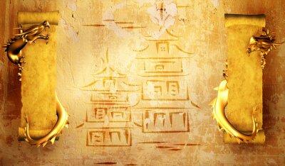Grunge Hintergrund mit Drachen und Schriftrollen
