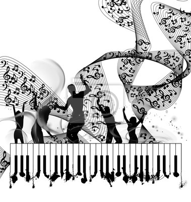 Grunge Musik Hintergrund mit Hinweis Klavier Linie
