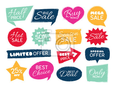 Bild Grunge sale badge. Retro pricing sticker, grungy textured price tag and vintage best offer label badges isolated vector set