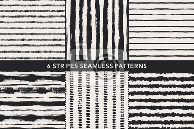 Bild Grunge stripes hand drawn seamless patterns set. Vector ornaments for wrapping paper.