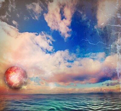 Grungy Himmel und Meer