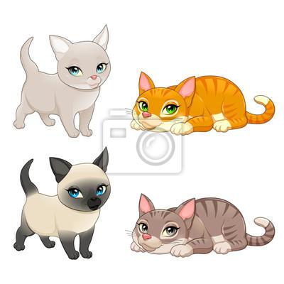 Gruppe von niedlichen katzen mit verschiedenen farben leinwandbilder ...