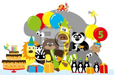 Gruppe Von Wilden Cartoon Tiere Und 5 Geburtstag Partei Elemente