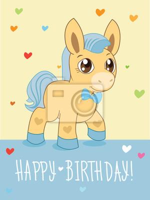Grußkarte Cartoon Tiere Vektor Schönes Pferd Pony Cartoon