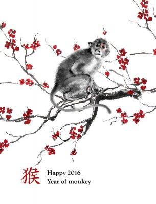 Bild Grußkarte Jahr des Affen. Ein Affe sitzt auf einem Zweig der Kirschblüte, orientalische Tintenmalerei. Mit chinesischer Hieroglyphe