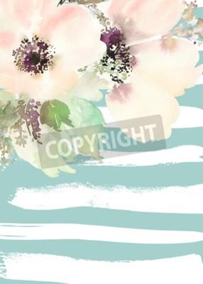 Bild Grußkarte mit Blumen. Pastellfarben. Handgefertigt Aquarellmalerei Hochzeit, Geburtstag, Muttertag. Brautdusche