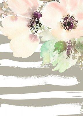 Bild Grußkarte mit Blumen. Pastellfarben. Handgefertigt. Aquarellmalerei. Hochzeit, Geburtstag, Muttertag. Brautdusche.