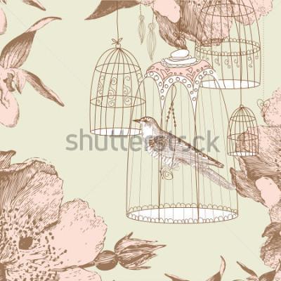 Bild Grußkarte mit einem Vogel im Käfig