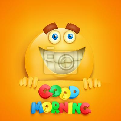 Guten Morgen Konzept Karte Mit Gelben Smiley Charakter