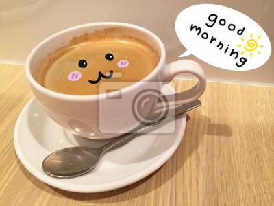 Guten Morgen Niedliche Kaffeetasse Auf Holztisch