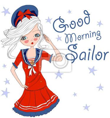 Guten Morgen Seemann Niedliche Vektor Mädchen