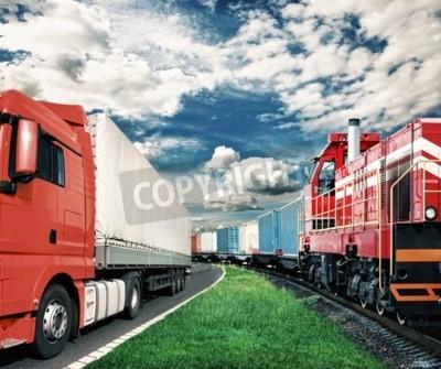 Bild Güterzug und LKW als Transportkonzept