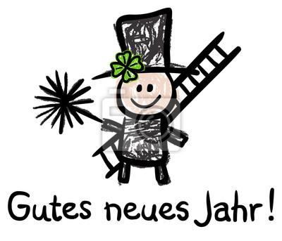 Gutes neues jahr! - schornsteinfeger, bürste, leiter, kleeblatt ...
