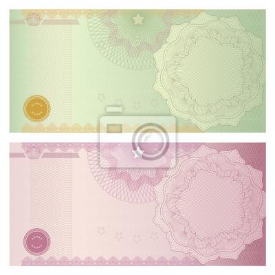 Gutschein (coupon, zertifikat) vorlage mit guilloche-muster ...