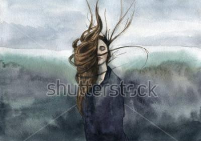 Bild Haare wehten in der Brise, Mädchen, launisch Aquarell